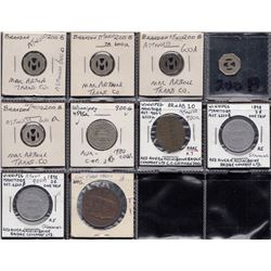 Lot of 10 Manitoba transportation tokens referenced to both Astwood and Atwood.