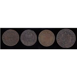 Group of 4 Sols, 1719-1722.