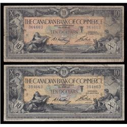 Canadian Bank of Commerce $10, 1917 - Lot of 2 - Interesting Serial Number Combo