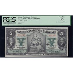 Banque Canadienne Nationale $5, 1929