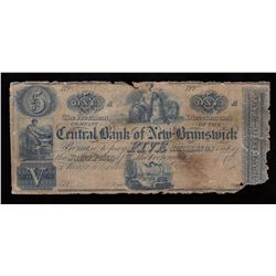 Central Bank of New Brunswick (5 Shillings) $1, 1847-53