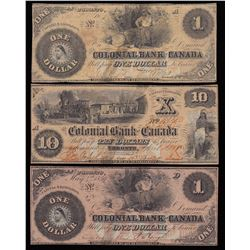 Lot of Three Colonial Bank of Canada Banknotes, 1859