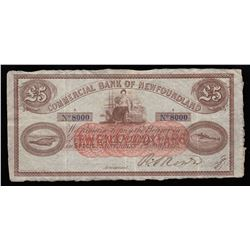 Commercial Bank of Newfoundland £5, 1874 - New Discovery!