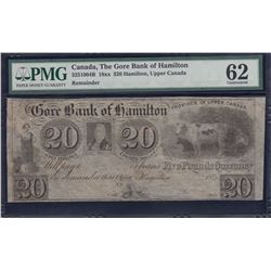 Gore Bank of Hamilton $20, 18__ Remainder