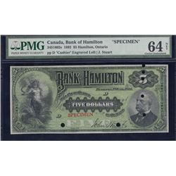 Bank of Hamilton $5, 1892 Specimen