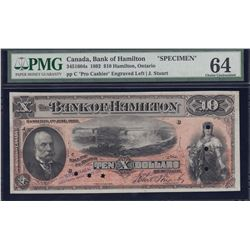 Bank of Hamilton $10, 1892 Specimen