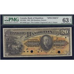 Bank of Hamilton $20, 1892 Specimen