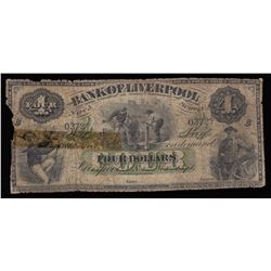 Bank of Liverpool, $4, 1871