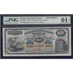 Merchants Bank of Halifax $10, Specimen