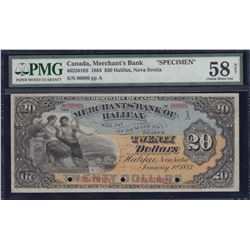 Merchants Bank of Halifax $20, Specimen