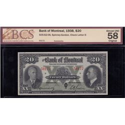 Bank of Montreal $20, 1938