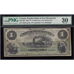 Peoples Bank of New Brunswick $1, 1885 - Trophy Note!