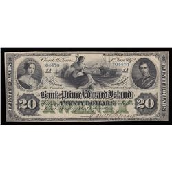 Bank of Prince Edward Island $20, 1872 Remainder