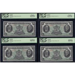 Lot of 4 Royal Bank of Canada $5, 1927 - Identical Serial Numbered Set