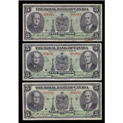 Royal Bank of Canada $5, 1943 - Lot of 3