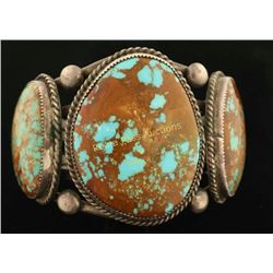 Large Navajo 3 Stone Turquoise Cuff