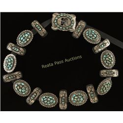 Turquoise Cluster Concho Belt with Navajo Hammered