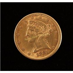 1881 Five Dollar Gold Piece