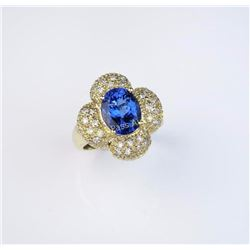 Gorgeous Fine Tanzanite and Diamond ring