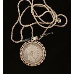 1876 Funf Mark German Coin Pendant