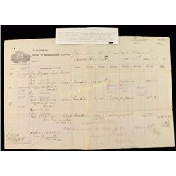 1877 Port of Philadelphia Ornate Invoice