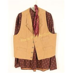 Western Tan Frontier Button Down Vest