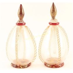 Pair of Blown Glass Perfume Bottles