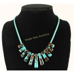 Navajo Turquoise Copper Infused Fringe Necklace