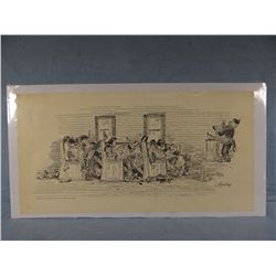 """2 William Standing prints, Sunday Sermon and On the Reservation, both 11"""" x 22"""","""