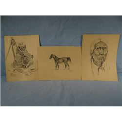 "Nancy McLaughlin Powell, 3 original drawings, 9"" x 12"""