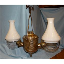 "Saloon hanging lamp, 2 globes, from Lewistown, MT, 23"" w x 21"" h,"