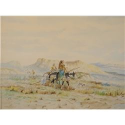 "Joe Ricker, (Wolf Point, Mont.) original watercolor, Moving Camp, 18"" h x 24"" w"