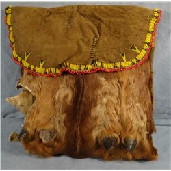 """Indian beaded dew claw bag, 12"""" x 12"""""""
