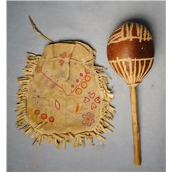 Southwestern Indian dance rattle, possibly Hopi; and beaded bag