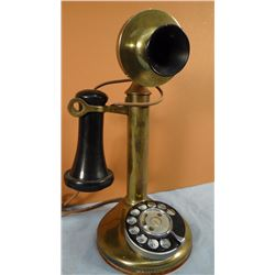 "Brass telephone, table model, 12"" h"