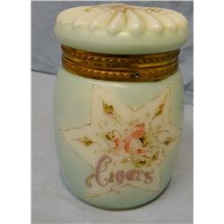 Crock foot warmer, rare & Cigar humidor, ca. 1870's, 6""
