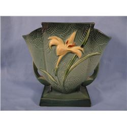 "Roseville Zephry Lily green vase, 7"" , #206, 2 small chips on base"