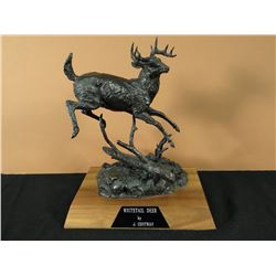 """Jay Contway,  bronze, White Tail Buck, 1979, 20/50, 11"""" h x 9"""" w,"""