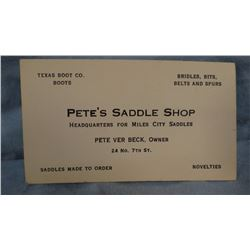 Hamley brass saddle tag and Pete Verbeck, Saddle Maker business card, Miles City, MT