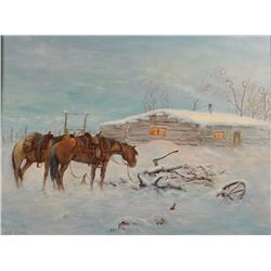 "C. R.  Cheek, original oil on board, Winter Line Camp,18"" h x 24"" w"