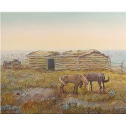 "C. R. Cheek, original oil, 16"" x 20"", Log Cabin On The Prairie"