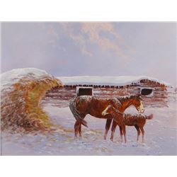 "C. R. Cheek, original oil on board, Into The Haystack, 12"" h x 14"" w"