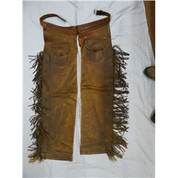 "J. C. Stewart fancy shotgun fringed chaps, 41"" tall, Showlow, AZ"
