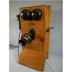 Western Electric oak wall phone, some damage upper left corner