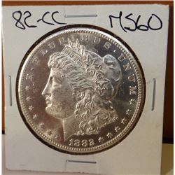 1882-CC Morgan dollar, MS 60 ++