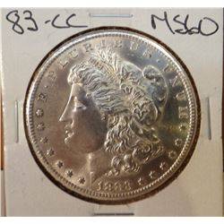 1883-CC Morgan Dollar, MS 60 ++