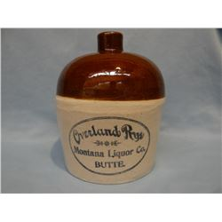 MT Liquor Co., Butte, MT Overland Rye Whiskey 1/2 gal. crock jug,  bottom marked Minnesota Stoneware