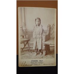 "Barry, D. F. original cabinet card photo, Standing Holy, Sitting Bull's daughter, 3 3/4"" x 5 1/2"", 1"
