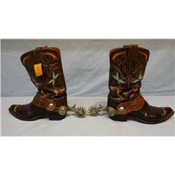Hyer boots w/Crockett arrow shank silver mtd spurs