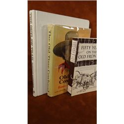 3 books, 50 Yrs. On Old Frontier, soft cover; Old Time Cowhands, 1961, 1st, dj; Outlaw Trails, Redfo